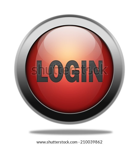 Login red glossy web button - stock photo