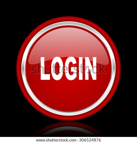 login red glossy web icon chrome design on black background with reflection   - stock photo