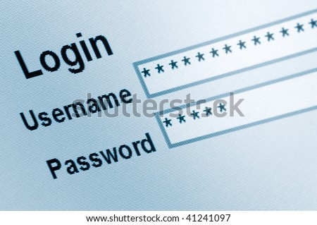 Login Screen Macro Capture, Medium Blue Website, ecommerce e access online user web page password username