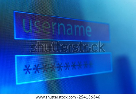 Login username and password on computer screen or monitor - stock photo