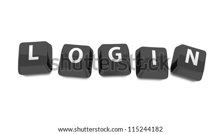 LOGIN written in white on black computer keys. 3d illustration. Isolated background. - stock photo