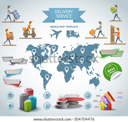 Logistic chain shipping freight service supply delivery infographics set with charts and world map - stock photo