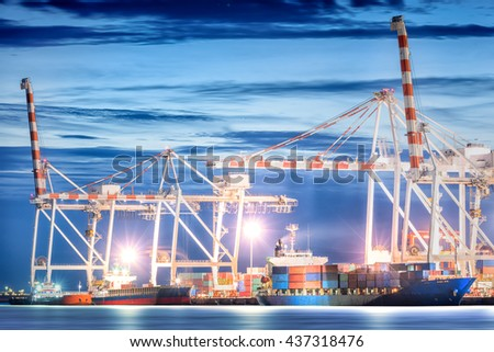 Logistic Import Export background, Container Cargo freight ship with working crane bridge in shipyard at twilight sky, Shipping, Logistics. - stock photo