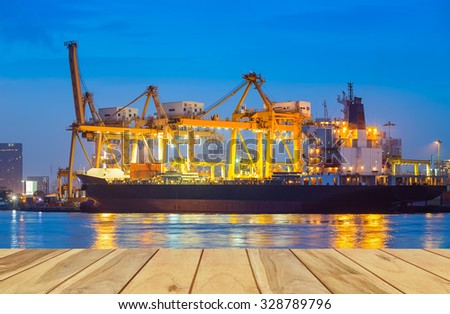 Logistics and transportation of cargo ship and cargo container working with crane at port for logistics and transportation background. - stock photo