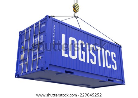 Logistics - Blue Cargo Container hoisted with hook Isolated on White Background. - stock photo