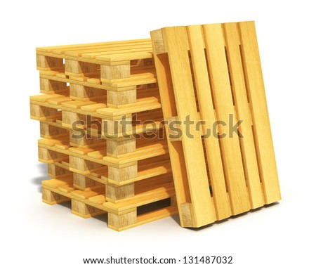 Logistics, cargo transportation and freight shipment concept: stack of wooden shipping pallets isolated on white background - stock photo