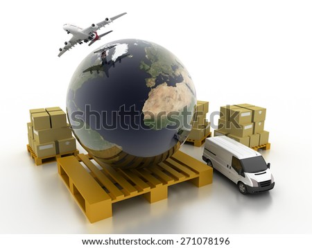 Logistics concept, original three dimensional models, 3d render. - stock photo