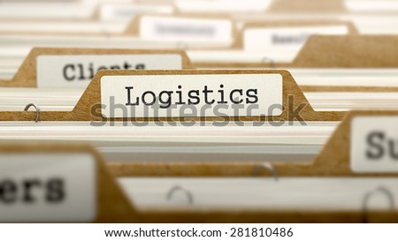 Logistics Concept. Word on Folder Register of Card Index. Selective Focus. - stock photo