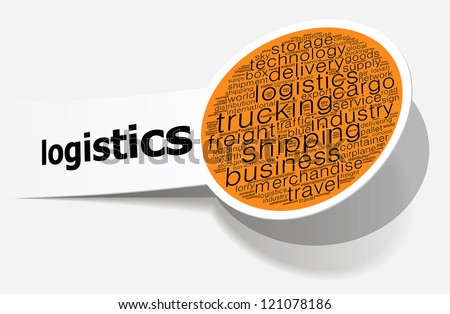 Logistics info-text graphics and arrangement concept on white background (word cloud) - stock photo