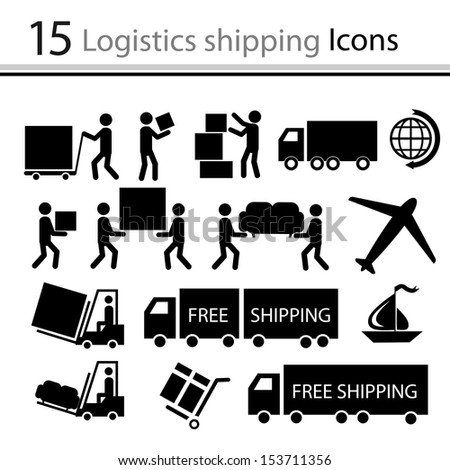 Logistics shipping icons set