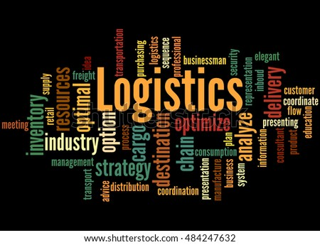 Logistics, word cloud concept on black background.