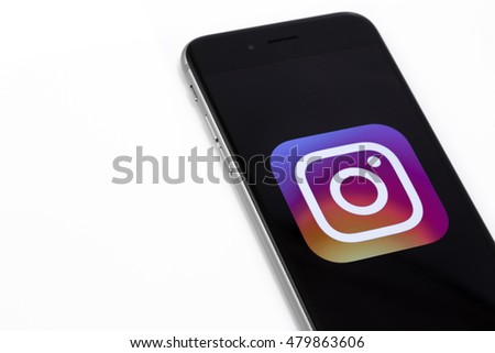 Logo of Instagram on Apple iPhone 6s. Instagram is largest and most popular social networking site in the world. Ekaterinburg, Russia - September 7, 2016