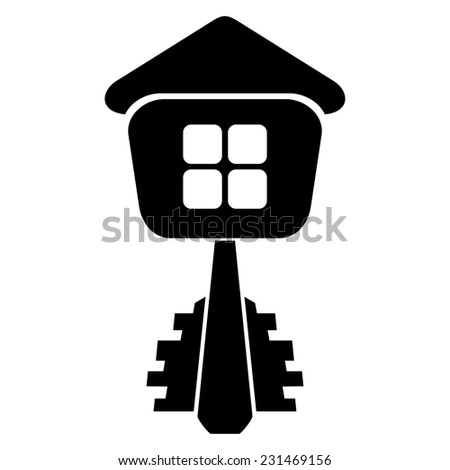 Logo of the builder, house key isolated on white background. Raster copy. - stock photo