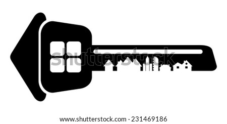Logo of the builder, house key isolated on white background. Silhouette of the city's architecture. Raster copy. - stock photo
