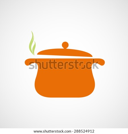 Logo of the pan with steam. Stock image. - stock photo