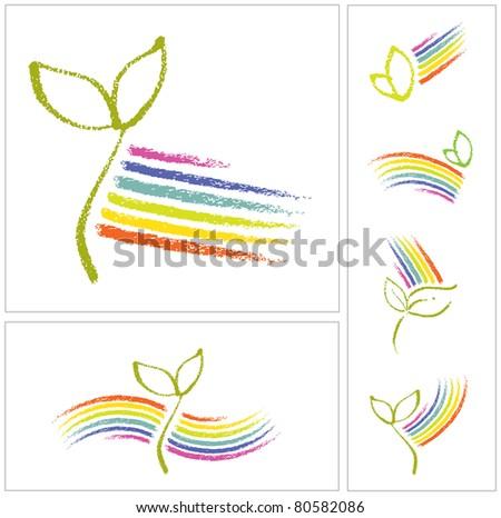 Logo set - Ecology motive, little plant seedling and a rainbow (raster version) - stock photo