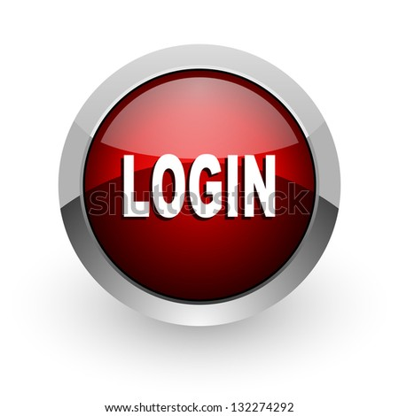 logout red circle web glossy icon - stock photo