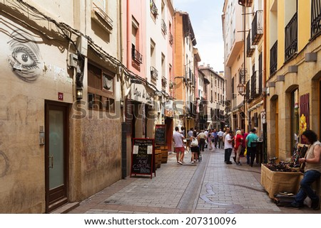 LOGRONO, SPAIN - JUNE 28, 2014: Narrow street with restaurants . Logrono, Spain