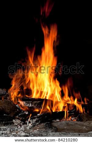 logs burning - stock photo