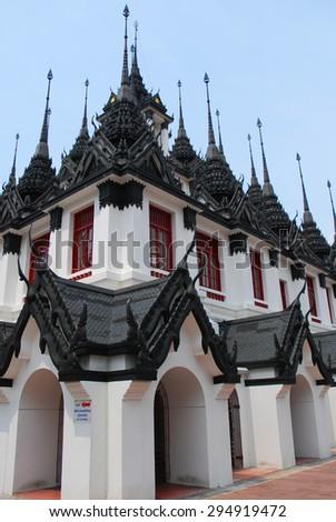 Loha Prasat at Wat Ratchanadda in Bangkok, Thailand. - stock photo