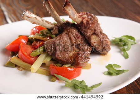 Loin Chops with vegetables on plate