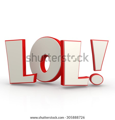 LOL word with white background image with hi-res rendered artwork that could be used for any graphic design. - stock photo