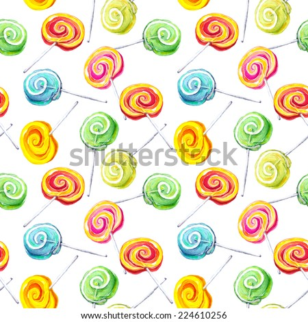 Lolli pop seamless pattern. Watercolor - stock photo