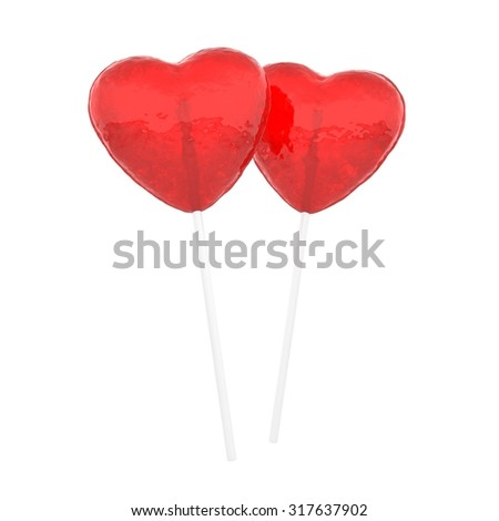 Lollihearts. Candy hearts on white. - stock photo