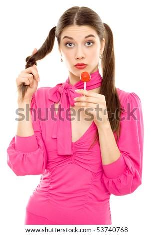 Lollipop girl sweet candy isolated - stock photo