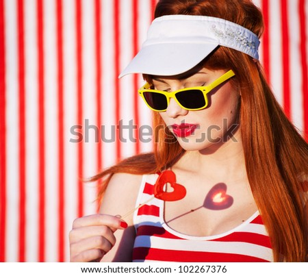 Lollipop shadow, love concept - stock photo