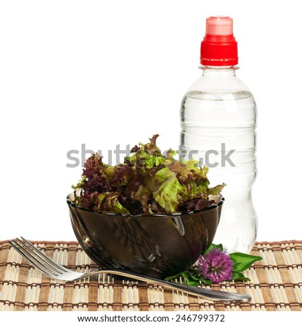 Lollo Rosso lettuce on a plate with water bottle on a straw mat - stock photo