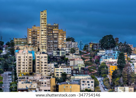 Lombard Street in Russian hill taken from Telegraph Hill - stock photo