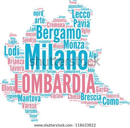 Lombardia tagcloud - italian regions - stock photo