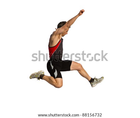 lomg jump in track and field - stock photo