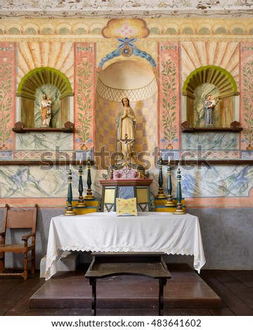 LOMPOC, CALIFORNIA - JULY 30: Sanctuary and altar of the church at the La Purisima Mission on July 30, 2016 in Lompoc, California