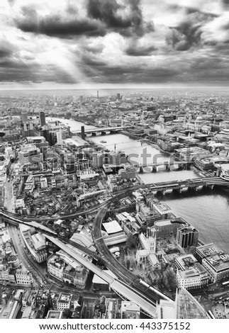 London aerial view, Black and White - stock photo