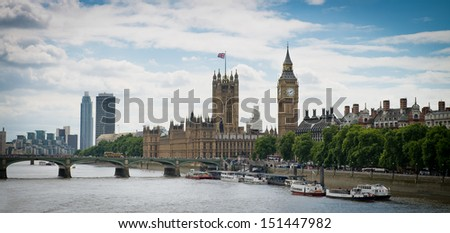 London afternoon, Westminster Bridge, Big Ben and Houses of Parliament. - stock photo