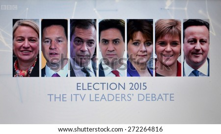 LONDON - APR 2: A view of a screen capture taken of a live election TV debate with main party candidates on Apr 2, 2015 in London, UK. Voters go to the polls on May 7 in a close general election. - stock photo
