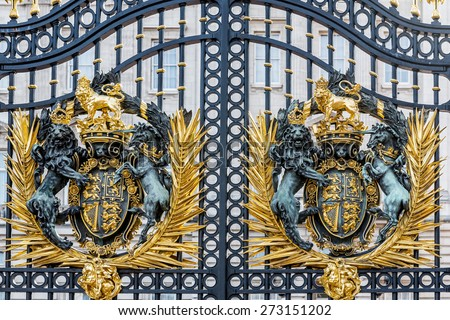 LONDON - APR 11: Gate of Buckingham palace on April 11, 2015 in London U.K. Buckingham palace is the official residence of Queen Elizabeth II and one of the major tourist destinations U.K. - stock photo