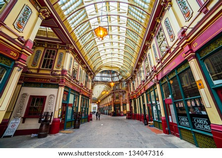 LONDON - APR 5 : Leadenhall covered market interior pictured on April 5th, 2013, in London, UK. The market dates back to the 14th century, and formed part of the marathon course of the 2012 Olympics. - stock photo