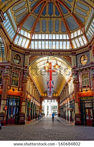 LONDON - APR 5 : Leadenhall covered market interior pictured on April 5th, 2013, in London, UK. The market dates back to the 14th century, and formed part of the marathon course of the 2012 Olympics.