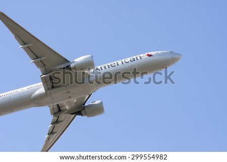 LONDON - APRIL 23: An American Airlines 777-323 aircraft takes off from LHR on April 23, 2015 London - stock photo