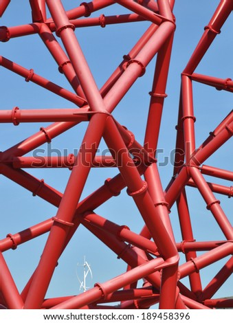 LONDON - APRIL 16. Detail of the ArcelorMittal Orbit at the new Queen Elizabeth Olympic Park on April 16, 2014, a symbolic legacy of the games designed by Anish Kapoor and Cecil Balmond in London. - stock photo