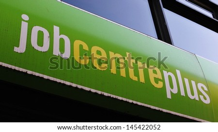 LONDON - APRIL 13: Exterior of a Job Centre Plus as the government announces a fall in unemployment of 17,000 to 2.48M or 7.8% of the working population on April 13, 2011 in London, UK.  - stock photo