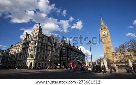 LONDON - APRIL 29, 2015: General view of Westminster Parliament Square, one of the London's main tourist attractions, many demonstrations and protests have been held, on April 29, 2015, London, UK.  