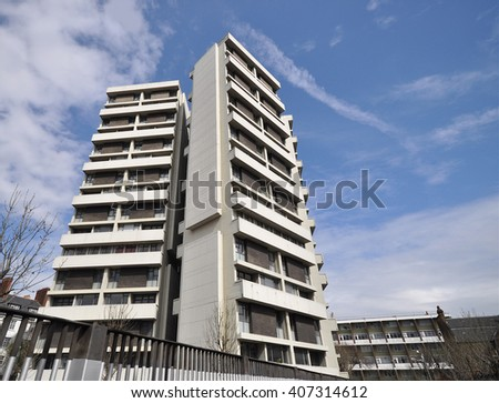 LONDON - APRIL 9, 2016. Keeling House, a 16 storey Modernist four wing Grade II Listed apartment building designed by Denys Lasdun, completed in 1957 and renovated in 2001, at Bethnall Green, London. - stock photo