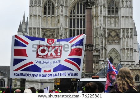 LONDON - APRIL 29 - OK! magazine advertise their magazine celebrating the Royal Wedding of Prince William and Kate Middleton on April 29, 2011 at Westminster Abbey in London, England. - stock photo