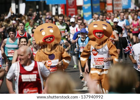 LONDON - APRIL 21: Participant in the London Marathon wearing funny costume on April, 21, 2013 in London, UK. London Marathon is next to New York, Berlin, Chicago and Boston to World Marathon Majors. - stock photo
