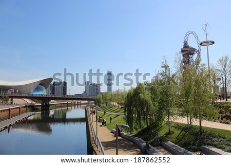 LONDON - APRIL 5. The Aquatics Centre at the new Queen Elizabeth Olympic Park on April 5, 2014, opening day of the new public area in Stratford, London, UK. - stock photo