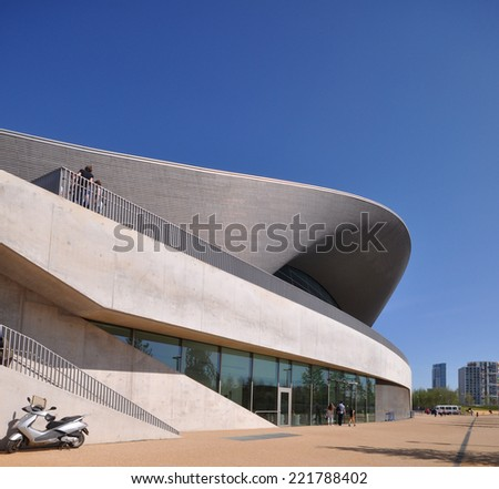 LONDON - APRIL 16. The Aquatics Centre at the Queen Elizabeth Olympic Park on April 16, 2014, designed by Zaha Hadid Architects and open to the public at Stratford, London, England, UK.